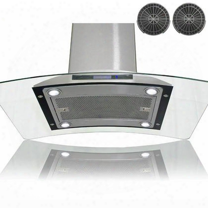 "Gir0936 36"" Island Mount Range Hkod With 870 Cfm 65 Db Innovative Touch 2w Led Lighting 3 Fan Speed Aluminum Grease Filter And Ductless: Stainless"