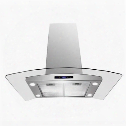 "Girais236 36"" Island Mount Range Hood With 870 Cfm 65 Db Innovative Touch Led Lighting 3 Fan Speed Aluminum Grease Filter And Ductless: Stainless"