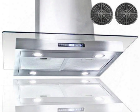 "Girci30 30"" Island Mount Range With 870 Cfm 65 Db Innovative Touch Led Lighting 3 Fan Speed Aluminum Grease Filter And Ductless:"