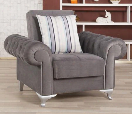 "Imperial Comfort Icacgy 49"" Convertible Armchair With Matching Pillow Tapered Polished Metal Feet And Button Tufted Detailing In Lyon"