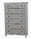 24262 Provence Tallboy Dresser with 6 Drawers Simple Metal Pulls and Cabriole Legs in White Distressed