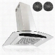 "AIR61C36 36"" Island Mount Range Hood with 400 CFM 55 dB Innovative Touch 4 Fan Speed Delayed Auto Shut Off Stainless Steel Baffle Filter and Ductless in"