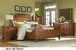 Attic Heirlooms 4397KFB2N5DCDM 6-Piece Bedroom Set with King Feather Bed Two Door Nightstands 5-Drawer Chest Dresser and Mirror in Natural Oak Stain