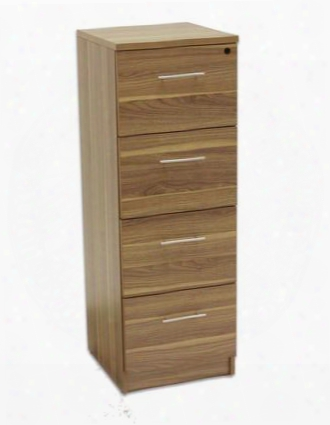 "100 Collection 119204-wal 20"" Vertical Filing Cabinet With 4 Anti Tilt Drawers Mobile Pedestal European Design Central Locking System Legal/letter Size"