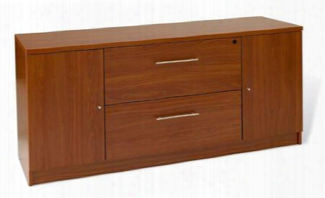 "100 Collection 163202-ch 63"" Storage Credenza With 2 Drawers 2 Doors Central Locking System High Pressure Melamine Medium-density Fiberboard (mdf)"