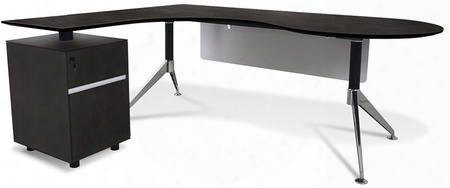 "300 Collection 382-esp 79"" Executive Teardrop Desk With Left Return Pedestal Adjustable Height Central Lock Chrome Steel Base And High Pressure Melamine"