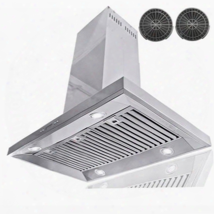 "Air0a536 36"" Island Mount Range Hood With 870 Cfm 65 Db Centrifugal Motor Crisp Analog Push Buttons Led Lighting 3 Fan Speed Stainless Steel Grease"