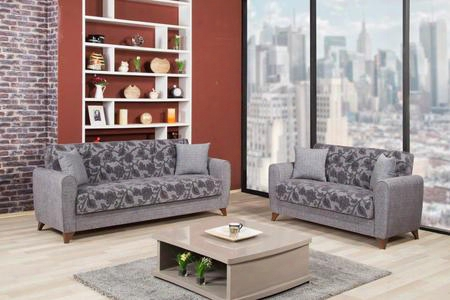 "Anatolia Anqfsblsg Quantro 85"" Wide Convertible Sofa And Love Seat With Pillows Storage Under The Seats Tapered Legs And Textured Flower Pattern In"