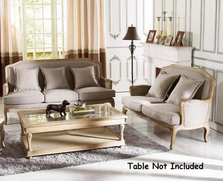 Baxton Studio Ta2256-sfls-beige Constanza Classic Antiqued French Sofa + Loveseat With Matching Pillows Distressed Oak Frame And Linen Upholstery In Neutral
