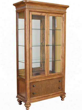 "Cascade Collection 4940-560 44"" Wide Curio China Cabinet With 2 Framed Glass Doors Mirror Back 3 Adjustable Glass Shelves And Touch Lighting In"