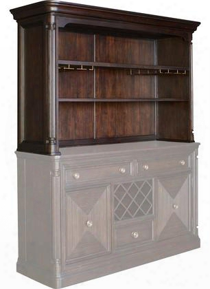 "Jessa 4980-514 70.25"" Wide Server Hutch With 2 Adjustable Shelves Stemware Storage Rack And Intricate Moldings In Dark Brown"