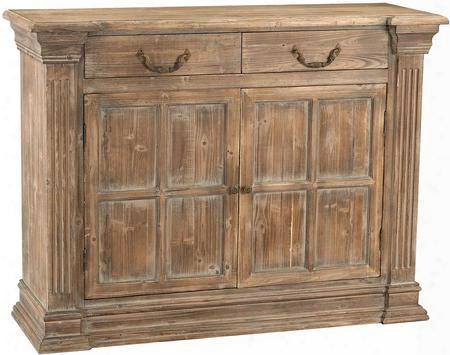 Jinkoh Collection 3100-005 47& Quot; Server With 2 Drawers 2 Doors Floral Patterned Iron Pulls And Hand Carved Malaysian Agarwood Materials In Aged Warm Oak