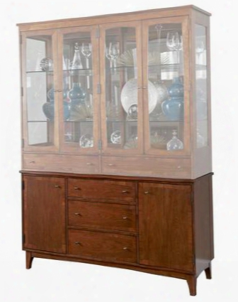 "Mardella 4277-563 60"" Wide China Cabinet Base With 2 Doors 3 Drawers Removable Lined Silver Tray And Hidden Cubby For Table Leaf Storage In Cognac"
