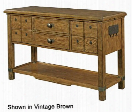 """New Vintage 4809-515 54"""" Sideboard With 2 Drawers Pull-out Side Tray Bottom Shelf Silverware Tray And Key Storage Plaque On The Right Panel In Time Worn"""