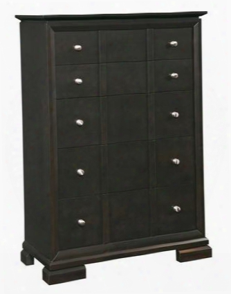 "Piper 4657-240 38"" Wide 5-drawer Chest With Cedar Lined Bottom Drawer Metal Drawer Glides With Ball-bearings And Brushed Nickel Hardware In Graphite"