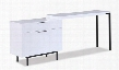 "18074 47.2""L Wanda Modern Office Desk with Deep Reversible Drawer with Soft Closing Tracks and Adjustable Length in White"