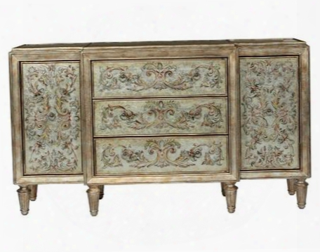208073 Console With 3 Drawers 2 Doors 2 Adjustable Shelves Hand Painted Design Turned And Fluted Feet In Dark Wood