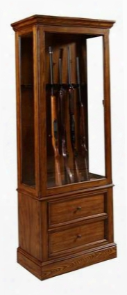 21501 Halifax Gun Cabinet With 2 Drawers 3-way Touch Dimmer Switch Led Light Selected Hardwoood Solids And Veneers In Light Wood