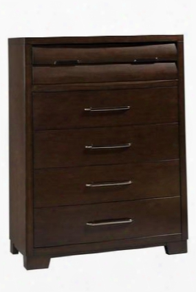 330124 Sable Chest With 5 Drawers Ball Bearing Side Drawer Guides And Black Nickel Finished Hardware In Dark Brown Veneer