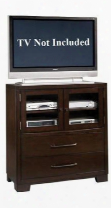 330145 Sable Media Chest With 2 Drawers 2 Wood Framed Glass Doors 1 Adjustable Shelf And Dust Proofing Beneath Drawers In Dark Brown Veneer