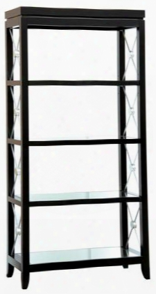 549063 Trenton Etagere Shelves With 4 Stationary Mirrored Shelves And Silver Finished Decorative X Bracing Sides In Black Painted
