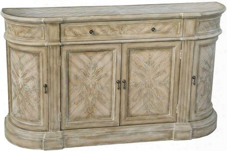 "641034 63"" Credenza By The Side Of 4 Doors 1 Drawer Hand Painted Curved Frame Subdued Floral Design Fluted Posts And Adjustable Shelves Inlight Wood"