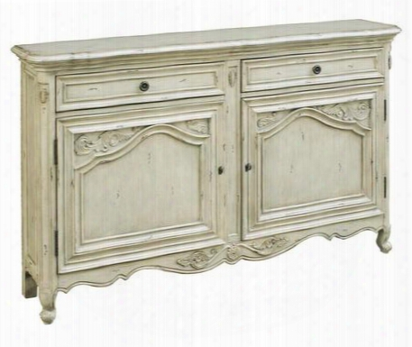 641052 Covent Garden Console With 2 Framed Doors 2 Framed Drawers Cabriol Elegs And Metal Hardware In White Distressed Painted