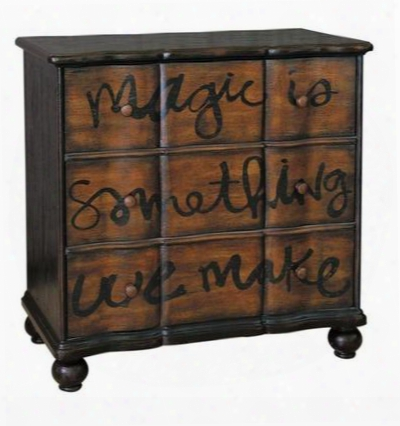641107 Magic Accent Chest With 3 Hand-painted Drawers Bun Feet And Decorative Drawer Interior Wrap In Brown Distressed Painted