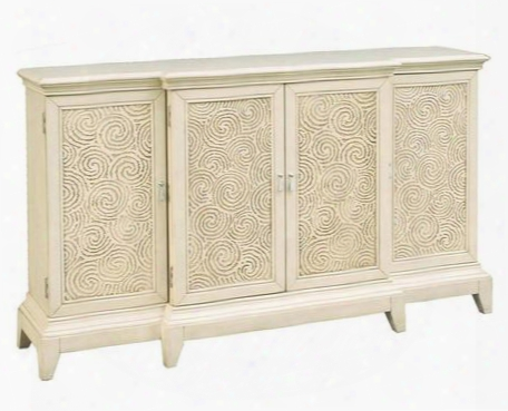 641167 Meyer Console With 4 Doors 3 Adjustable Shelves Breakfront Design And Tapered Legs In White Painted