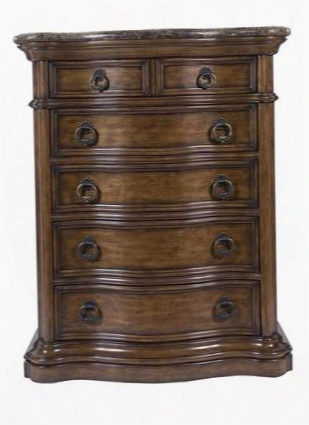 662124 San Mateo Drawer Chest With 5 Drawers Laminated Marble Top Decorative Metal Hardware And Felt Bottom Tol Drawer In Medium Brown Pecan Veneer
