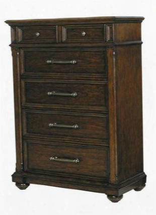 673124 Durango Ridge Chest With 5 Drawers Ball Bearing Side Drawer Guides Dovetailed Drawers And Dust Bottoms In Brown Wood