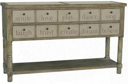 "730053 60"" Console With 4 Apothecary-style Drawers Blue Drawer Interior Bottom Display Shelf Concrete Top Inserts And Turned Legs In Beige"