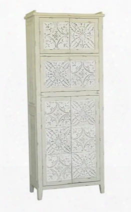 730091 White Accent Cabinet Distressed