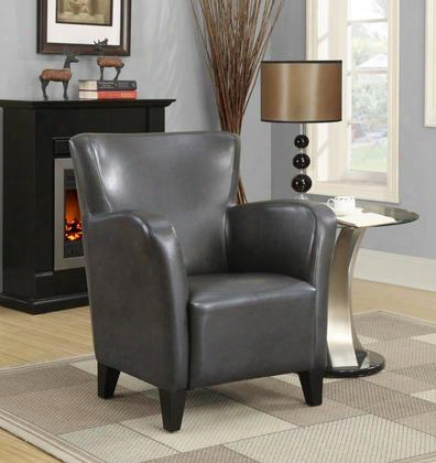 I 8077 Accent Chair - Charcoal Grey Leather-look