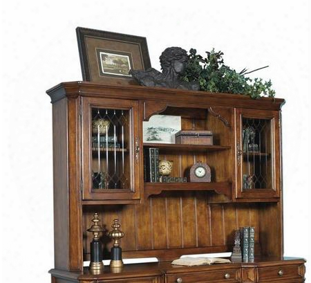 Madison Collection 4455-916 Hutch With 2 Glass Doors 4 Shelves Beveled Corners Antique Brass Hardware Hardwood Solids And Veneers In Cherry