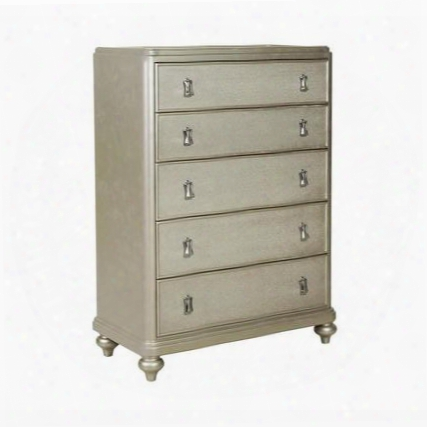 Platinum 8710-040 Five Drawer Chest With Curved Front Decorative Hardware And Bun Feet In Metallic