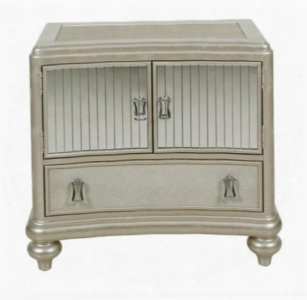 Platinum 8710-050 Nightstand With Curved Front Mirror Strips On Face Of Doors Decorative Hardware And Bun Feet In Metallic
