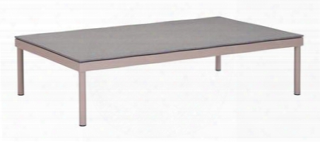 """703573 Glass Beach 47"""" Coffee Table With Powder Coated Aluminum Frame And Granite Coated Tempered Glass Top In Taupe And Granite"""