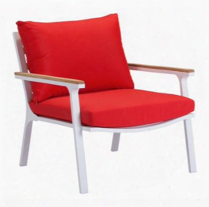 "703574 Maya Beach Collection 30"" Arm Chair With Aluminum Frame Teak Trimmed Armrests And Removable Cushion In Red Nautral &"