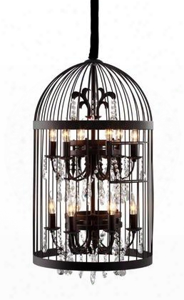 "98240 93"" Canary Ceiling Lamp With Faceted Crystal And Hand-wrought Iron In"