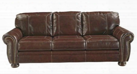 Banner Collection 5040438 Sofa With Leather Upholstery Rolled Arms Stitched Detailing Removable Seat Cushions And Traditional Style In