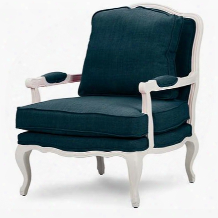 Baxton Studio 52348-azure Antoinette French Accent Chair With Polyurethane Foam Cushions Cabriole Legs Distressed Rubberwood Frame And Fabric