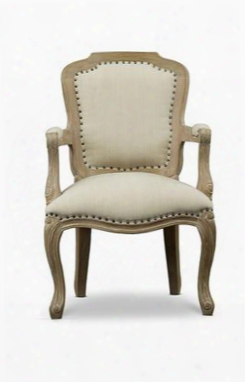 Baxton Studio Ass390mi Cg4 Poitou French Accent Chair With Distressed Mindi Wood Frame Polyurethane Foam Cushions Nail Head Trim And Fabric Upholstery In