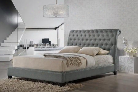 Baxton Studio Bbt6293-king-grrey-de800 Jazmin Modern Platform Bed With Button Tufted Upholstered Headboard Tapered Legs Silver Nail Head Trim And Wooden