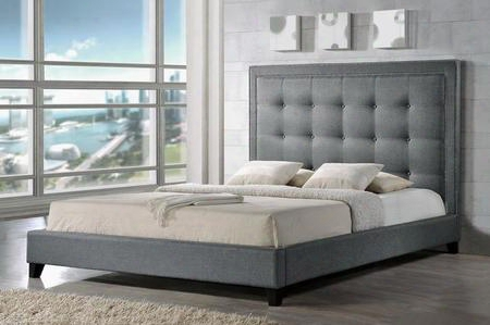 Baxton Studio Bbt6377-grey-king Hirst Platform Bed With Polyurethane Foam Padding Button Tufted Headboard Silver Nail Head Trim Tapered Legs And Fabric