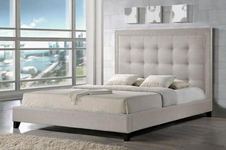 Baxton Studio Bbt6377-light Beige-king Hirst Platform Bed With Polyurethane Foam Padding Button Tufted Headboard Silver Nail Head Trim Tapered Legs And