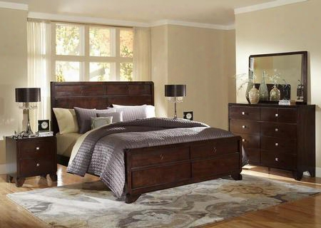 Baxton Studio C2180a-queen Tichenor 5 Pc Bedroom Set With Bed + Dresser + Mirror + 2 Nightstands In Dark Cherry Wood
