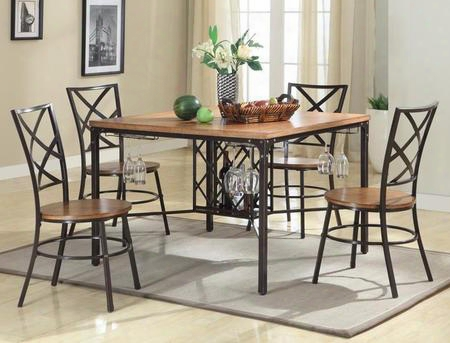 Baxton Studio Cdc252 5pc Dining Set Vintner Dining Set With Wine-bottle Cage Wine-glass Racks Powder-coated Metal Reclaimed-wood Seats And Tabletop In