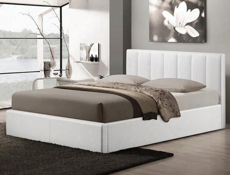 Baxton Studio Cf8287-queen-white Templemore Queen Size Platform Bed With Gas-lift Mechanism Underneath Storage Space Faux Leather Upholstery Metal And Wood