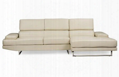 Baxton Studio U2376s-tapr-rfc Adler Right Facing Sectional Sofa With U-shape Metal Legs Wood Constructed Frame And Pearl Bonded Leather